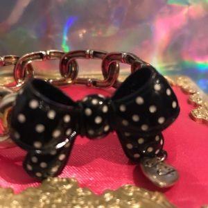 Black polka dot bow bracelet Betsey Johnson vtg